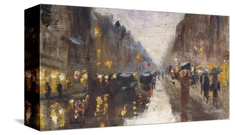 A Berlin Street in the Rain with Traffic; Berliner Strasse Beim Regen Mit Kutschen-Lesser Ury-Stretched Canvas Print