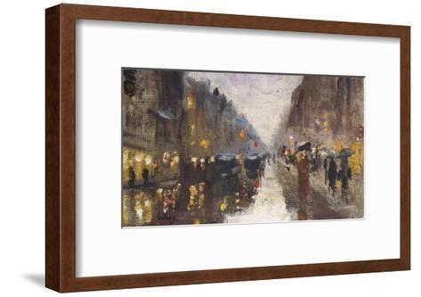 A Berlin Street in the Rain with Traffic; Berliner Strasse Beim Regen Mit Kutschen-Lesser Ury-Framed Art Print