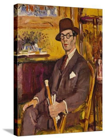 The Malacca Cane, a Portrait of Duncan Macdonald, Esq, Seated-George Leslie Hunter-Stretched Canvas Print