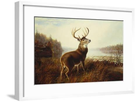 A Stag by a Lake-Arthur Fitzwilliam Tait-Framed Art Print