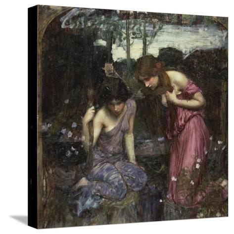 Nymphs Finding the Head of Orpheus-John William Waterhouse-Stretched Canvas Print