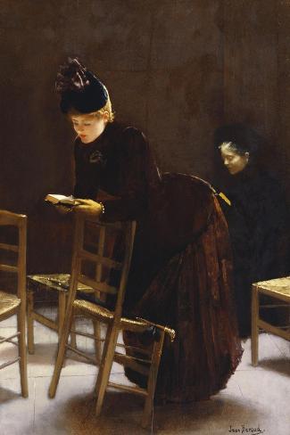 Woman at Prayer; Femme En Priere-Jean B?raud-Stretched Canvas Print