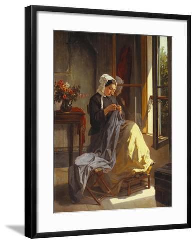 A Woman Sewing by an Open Window-Jules Trayer-Framed Art Print