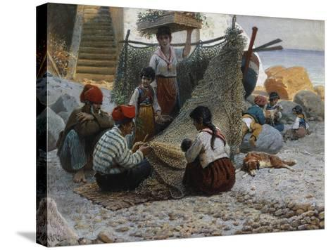Fisherman Mending Nets, Capri-Theodor Leopold Weller-Stretched Canvas Print