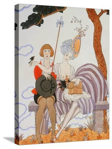 So Much or the Bird Is Quickly Tamed; Tant Mieux Ou L'Oiseau Vite Apprivoise-Georges Barbier-Stretched Canvas Print