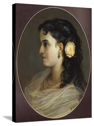 Portrait of Adelina Patti, Head and Shoulders (Female Portrait)-Gustave Dor?-Stretched Canvas Print