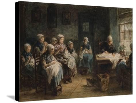 Sewing School at Katwijk-Jozef Israels-Stretched Canvas Print