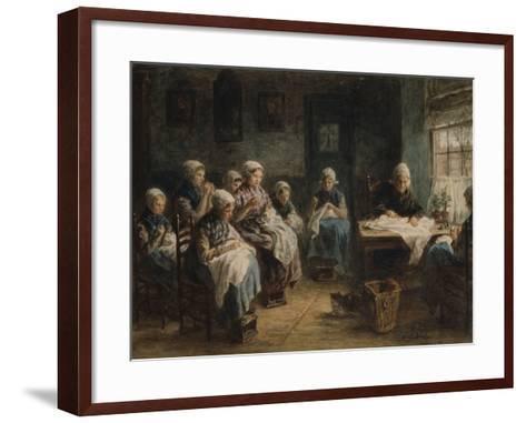 Sewing School at Katwijk-Jozef Israels-Framed Art Print