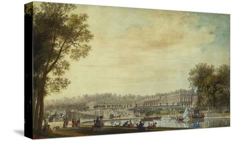 A View of the Grand Trianon, Versailles, with Figures and Vessels on the Canal-Louis-Nicolas de Lespinasse-Stretched Canvas Print