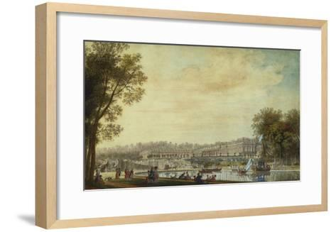 A View of the Grand Trianon, Versailles, with Figures and Vessels on the Canal-Louis-Nicolas de Lespinasse-Framed Art Print