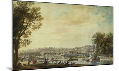 A View of the Grand Trianon, Versailles, with Figures and Vessels on the Canal-Louis-Nicolas de Lespinasse-Mounted Giclee Print