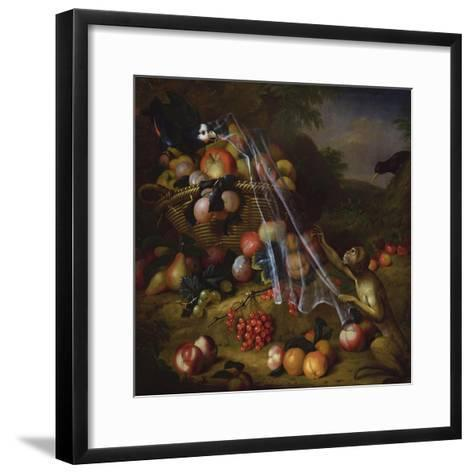 Mixed Fruit with a Monkey, a Parrot, a Jay and Two Finches in Landscapes-Tobias Stranover-Framed Art Print