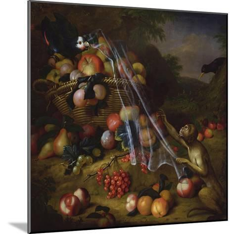 Mixed Fruit with a Monkey, a Parrot, a Jay and Two Finches in Landscapes-Tobias Stranover-Mounted Giclee Print