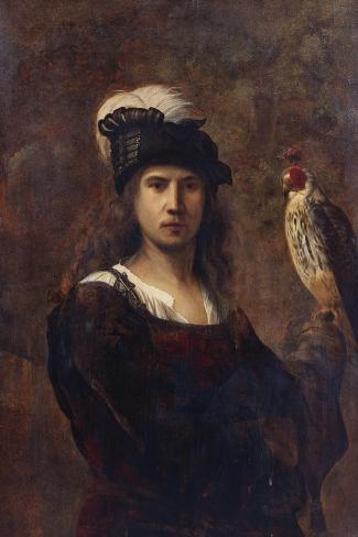 A Falconer, Standing Half Length, in a Feathered Hat--Stretched Canvas Print