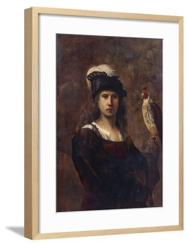 A Falconer, Standing Half Length, in a Feathered Hat--Framed Art Print