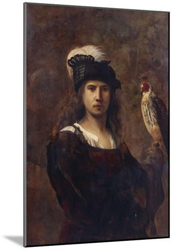A Falconer, Standing Half Length, in a Feathered Hat--Mounted Giclee Print