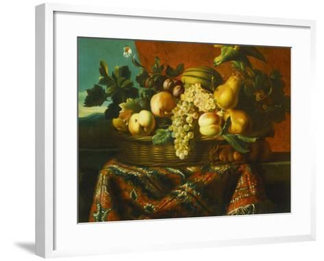 Grapes, Peaches, Plums, Pears and a Melon in a Basket with a Parakeet, a Red Squirrel and a…-Pierre Dupuis-Framed Art Print