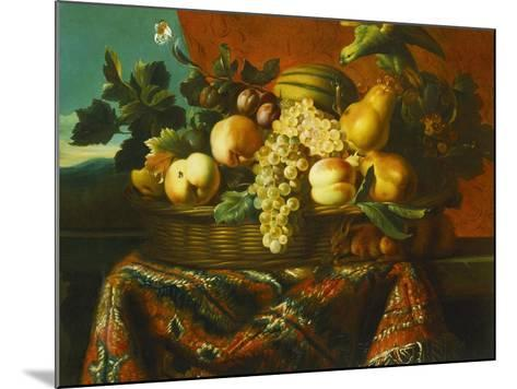 Grapes, Peaches, Plums, Pears and a Melon in a Basket with a Parakeet, a Red Squirrel and a…-Pierre Dupuis-Mounted Giclee Print