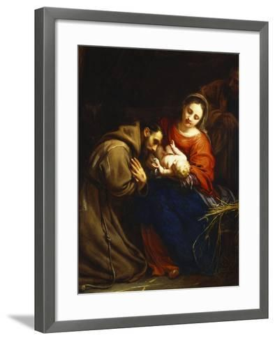 The Holy Family with St. Francis-Jacob Van Oost-Framed Art Print