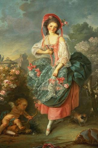 Portrait of Mademoiselle Guimard as Terpsichore-Jacques-Louis David-Stretched Canvas Print