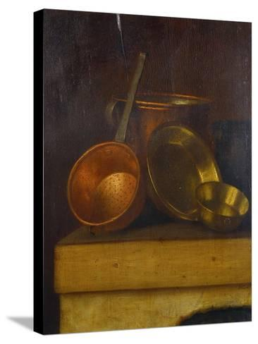 Copper and Brass Pots and Pans on an Oven Top-Martin Dichtl-Stretched Canvas Print