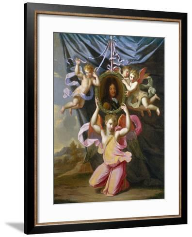 Angels Supporting an Oval Portrait of Louis Xiv before a Draped Curtain in a Landscape-Charles Lebrun (Follower of)-Framed Art Print