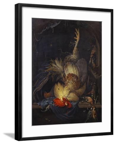 A Cockerel, a Partridge, Powder Horns, a Kingfisher and Song-Birds Hanging in a Niche, with a…-Abraham Mignon-Framed Art Print