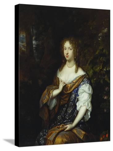 Portrait of Sara Nuyts (1645-1723), (Wife of Lambert Witsen), in an Orange, Blue and White Dress-Caspar Netscher-Stretched Canvas Print