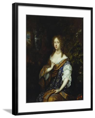 Portrait of Sara Nuyts (1645-1723), (Wife of Lambert Witsen), in an Orange, Blue and White Dress-Caspar Netscher-Framed Art Print