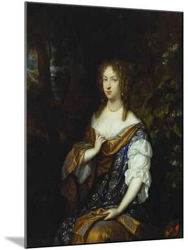 Portrait of Sara Nuyts (1645-1723), (Wife of Lambert Witsen), in an Orange, Blue and White Dress-Caspar Netscher-Mounted Giclee Print