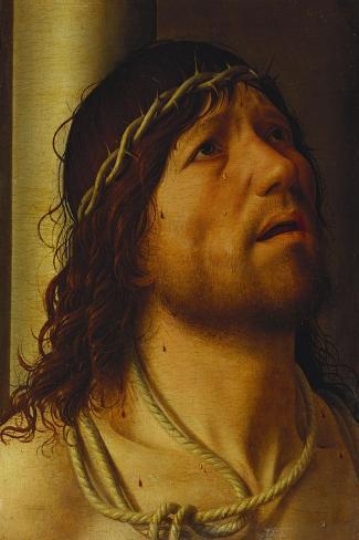 Christ at the Column-Antonello da Messina-Stretched Canvas Print