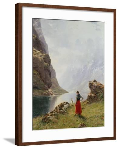 A Girl with Goats by a Fjord-Hans Dahl-Framed Art Print