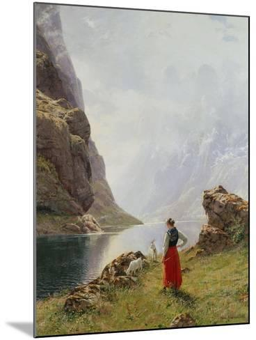 A Girl with Goats by a Fjord-Hans Dahl-Mounted Giclee Print