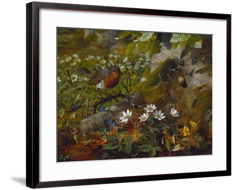 A Robin at the Foot of a Tree-Olaf August Hermansen-Framed Art Print