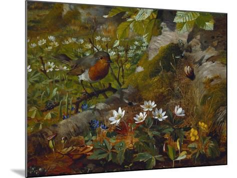 A Robin at the Foot of a Tree-Olaf August Hermansen-Mounted Giclee Print