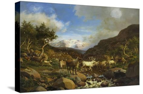 A Herd of Reindeer Fording a Stream in a Mountainous Landscape-Carl-henrik Bogh-Stretched Canvas Print