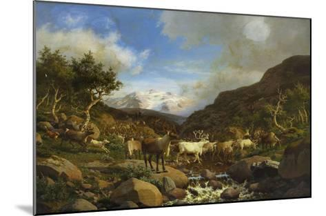 A Herd of Reindeer Fording a Stream in a Mountainous Landscape-Carl-henrik Bogh-Mounted Giclee Print