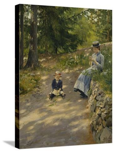 The Artist's Wife Dagny and their Son Sigurd-Paul Fischer-Stretched Canvas Print