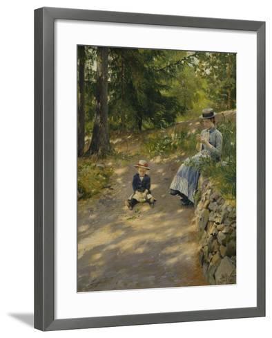 The Artist's Wife Dagny and their Son Sigurd-Paul Fischer-Framed Art Print