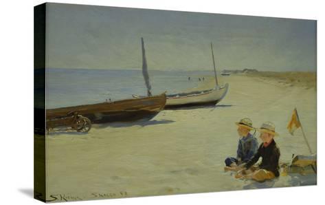 Boys on the Beach at Skagen-Peder Severin Kr?yer-Stretched Canvas Print
