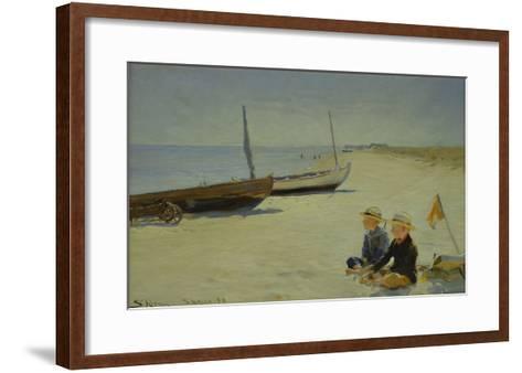 Boys on the Beach at Skagen-Peder Severin Kr?yer-Framed Art Print