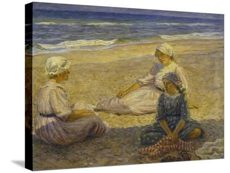 On the Beach-Johannes Martin Fastings Wilhjelm-Stretched Canvas Print