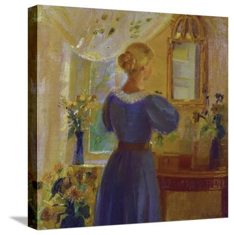 An Interior with a Woman Looking in a Mirror-Anna Kirstine Ancher-Stretched Canvas Print
