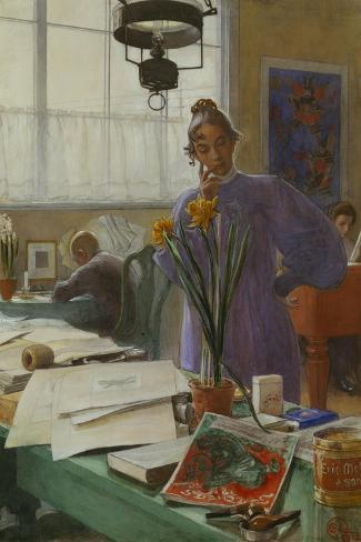 My Wife (Karin in the Studio]-Carl Larsson-Stretched Canvas Print