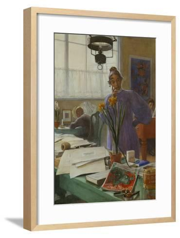 My Wife (Karin in the Studio]-Carl Larsson-Framed Art Print
