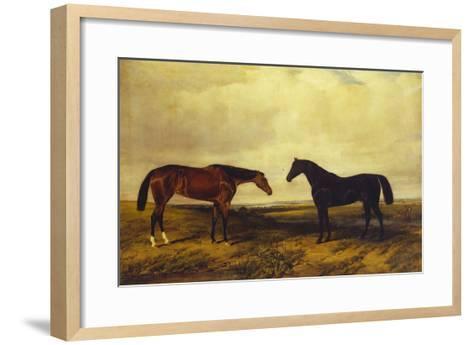 The Earl of Granards's Bright Bay Filly and Dark Bay Stallion Standing in an Extensive Landscape-William Luker-Framed Art Print