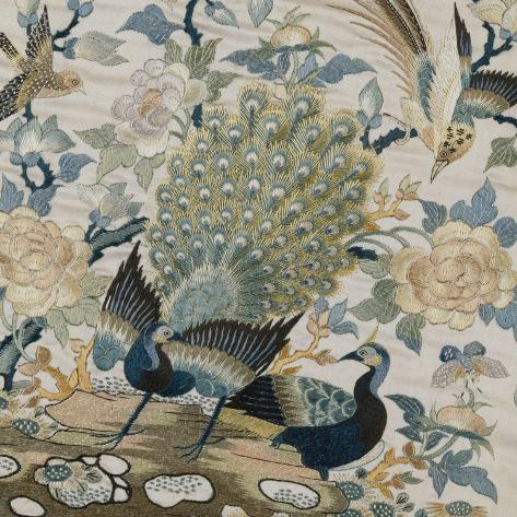 An Embroidered Roundel of Cream Satin, with a Pair of Peacocks and Other Birds Among Flowers--Stretched Canvas Print
