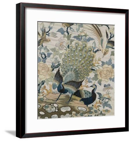 An Embroidered Roundel of Cream Satin, with a Pair of Peacocks and Other Birds Among Flowers--Framed Art Print