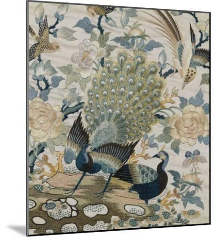 An Embroidered Roundel of Cream Satin, with a Pair of Peacocks and Other Birds Among Flowers--Mounted Giclee Print