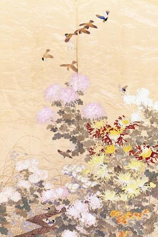 A Hanging of Gold Lame, Embroidered in Silks with Finches Perched Amongst Pink, Yellow and White?--Stretched Canvas Print